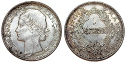 World Coins - Indo-China as French Colony. Silver 1 Piastre 1931. UNC, toned.