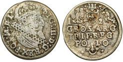 World Coins - Poland. Rzeczypospolita. Krakow. king Sigismund III. AR 3 Gross 1624. Fine+