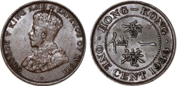 World Coins - British Colony: Hong Kong. King George V. AE 1 Cent 1933. Choice AU