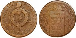 World Coins - France. First Republic. Convention Period (179-1795). AE 1 Sol ( Ln.II) 1793 D. Above VF, scarce