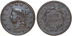 Us Coins - USA. Coronet Head Cent 1819. Choice VF, toned.