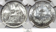 World Coins - French Indo-China. Colonial Issue. Silver 20 Cents 1937. NGC MS64!