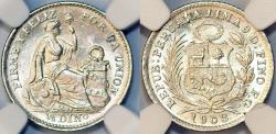 World Coins - Peru. Republic. Silver 1/2 Dinero 1908/7. NGC MS65, BU