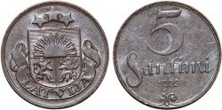 World Coins - Latvia. Republic. 5 Senti 1922. XF