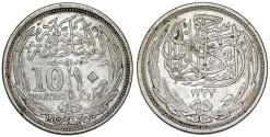 World Coins - British Occupation. Egypt. Hussein Kamil (1914-1922). Silver 10 Piastre 1917. Nice VF+