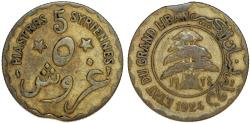 World Coins - French Administration. Lebanon. 5 Piastres 1924 A. About VF