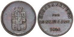 World Coins - Denmark. National Bank Token. CU 16 Skilling 1814. AVF/VF