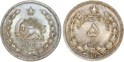 World Coins - Iran. Muhamed Reza Pahlavi Shah . Silver 5 Rials 1934. Toned Choice XF