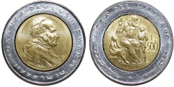 World Coins - Vatican City. Joaness Paulus II. Bi-Metallic 500 Lire 1982. Education. UNC