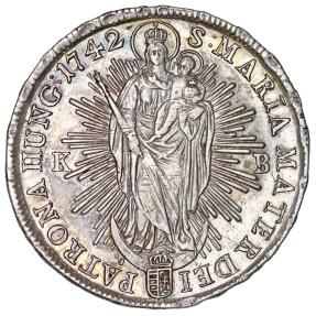 World Coins - H.R.E. Hungary. Queen Maria Theresa (1740-1780) AR Taler 1742 KB. Nice XF.