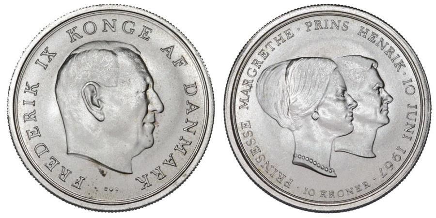 World Coins - Denmark. Frederik IX. AR 10 Kroner 1967. BU