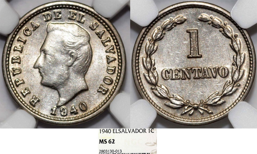 World Coins - El Salvador. Republic. CU-NI 1 Centavo 1940. NGC MS62