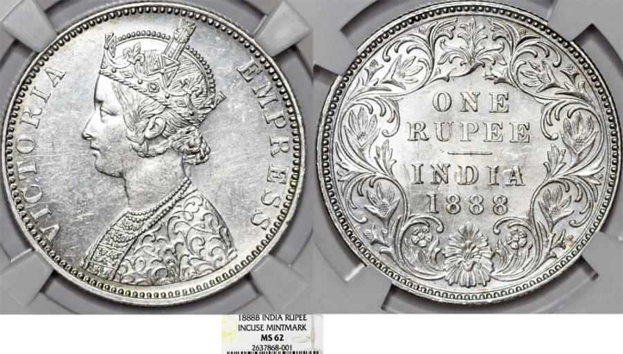 World Coins - India. British Rule. Empress Victoria. AR Rupee 1888B. NGC MS62