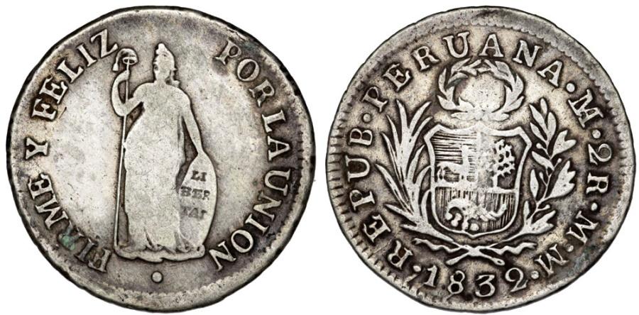World Coins - Peru. Republic. AR 2 Reales 1832. Fine+/aVF