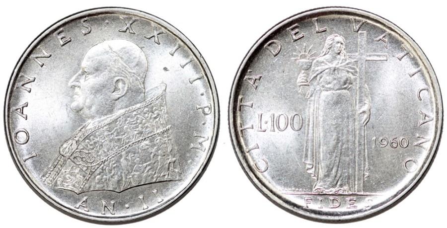 World Coins - Vatican City. Joaness XXIII. Steel 100 Lire 1960. Fides. UNC