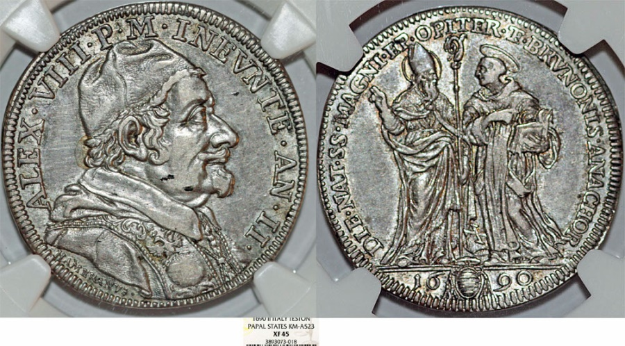 World Coins - Italy. Papal State. Rome. Pope Alexander VIII (1689-1691). AR Testone 1690 (AN II). NGC XF45, toned. RARE