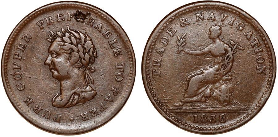 World Coins - Canada Nova Scotia. TRADE & NAVIGATION Penny Token 1838, Breton-967, Fine+