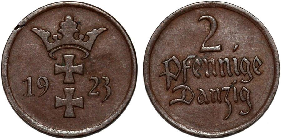 World Coins - Free City of Danzig. 2 Phennige 1923. XF
