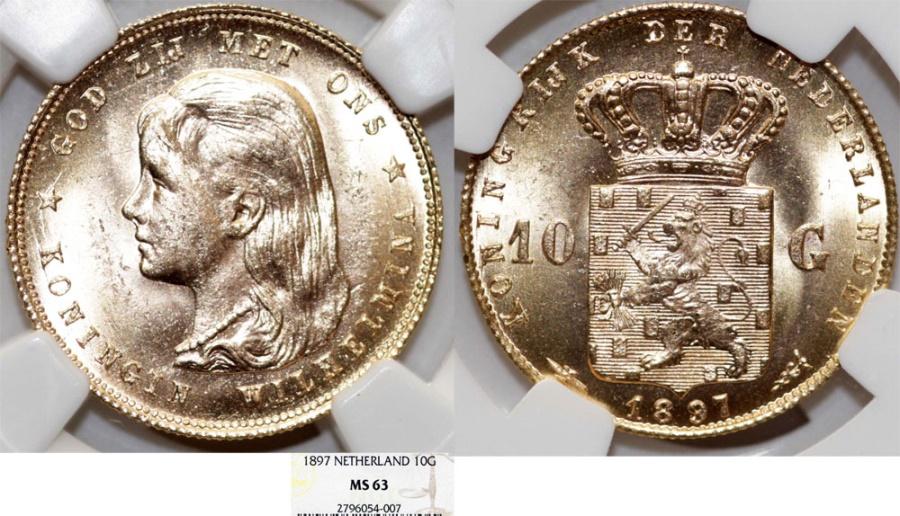 World Coins - Netherlands. Wilhelmina (1890-1948). AU 10 Gulden 1897. NGC MS63