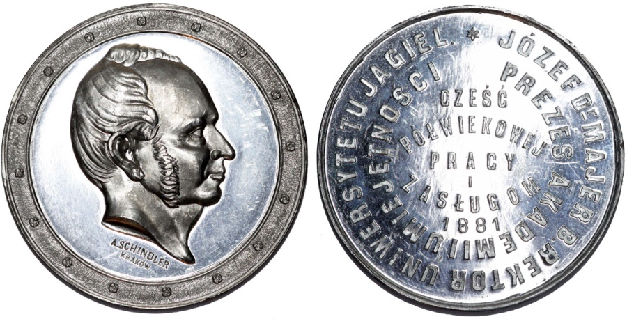 World Coins - Poland: Krakow. Joseph Majer - Tin 38 mm Medal commemorative 1881. Choice UNC