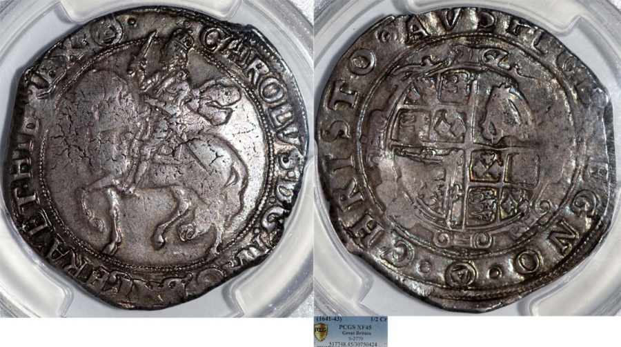 World Coins - Great Britain. House of STUART. Charles I. 1625-1649. AR Halfcrown ND. PCGS XF45, toned.