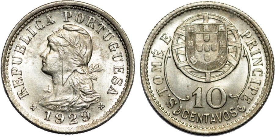 World Coins - Portugese Colony of Saint Thomas & Prince. NI-AE 10 Centavos 1929. UNC
