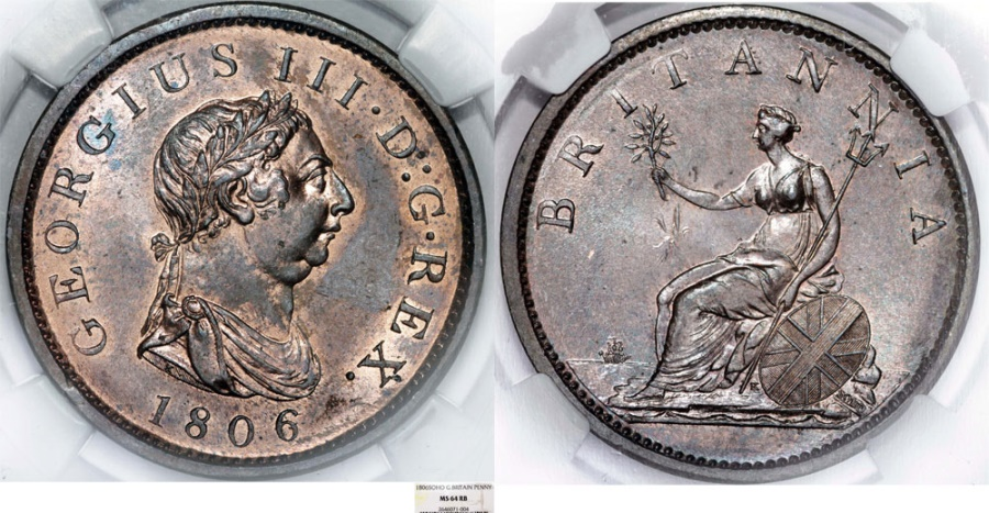 World Coins - Great Britain. George III. CU 1 Penny 1806. NGC MS64RD.