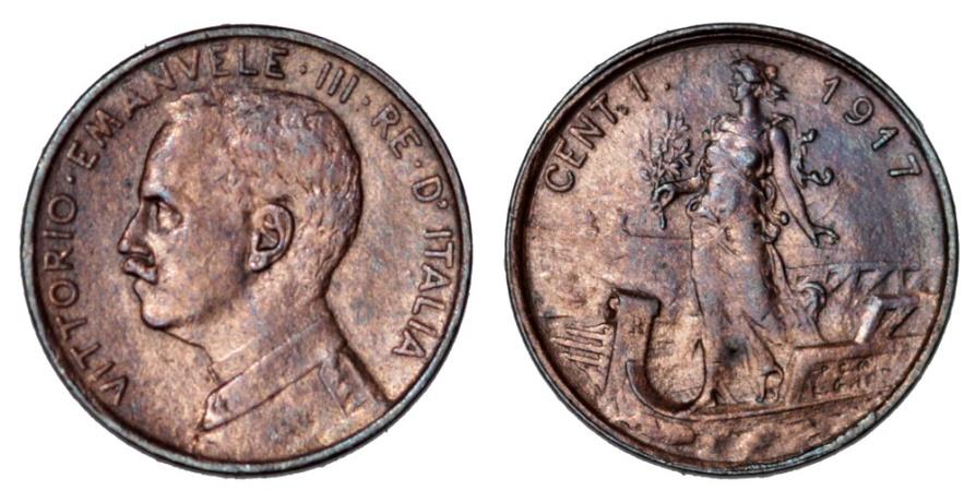 World Coins - Italy. Vittorio Emanuele III. AE 1 Centesimo 1917R. Nice AU
