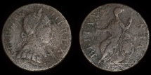 """World Coins - GREAT BRITAIN – """"1775"""" anonymous contemporary counterfeit regal Halfpenny, temp. George III, """"Longneck"""" family"""
