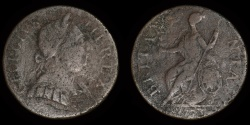 "World Coins - GREAT BRITAIN – ""1775"" anonymous contemporary counterfeit regal Halfpenny, temp. George III, ""Longneck"" family"