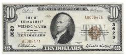 Us Coins - Nebraska, Weeping Water, Ch. 3523, The First National Bank of Weeping Water, Nebraska, Series of 1929 Type 1 $10