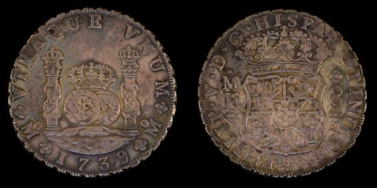 World Coins - MEXICO – Spanish Colonial 1739 Mo MF 8 Reales Philip V, EF