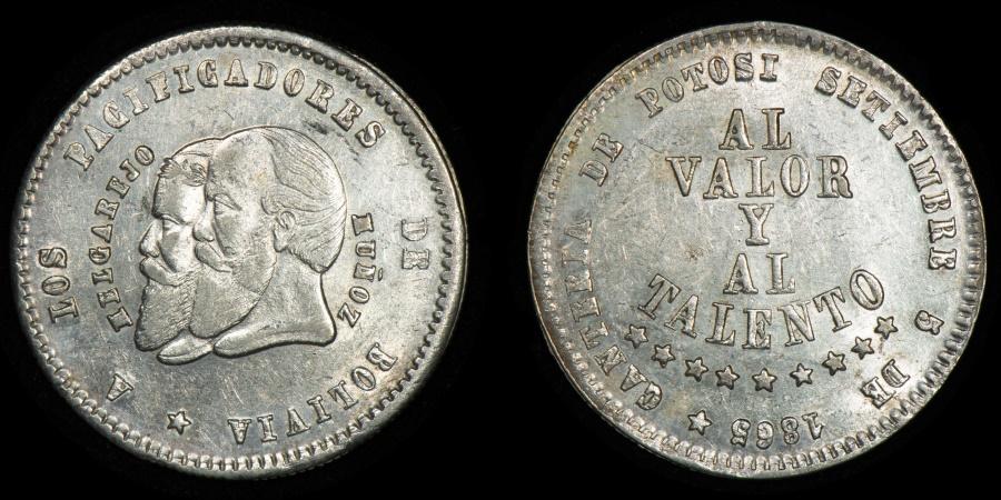 World Coins - BOLIVIA – Republic 1865 1/2 Melgarejo, short beards variety