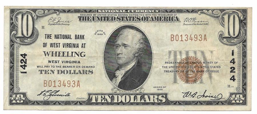 US Coins - West Virginia, Wheeling, Ch. 1424, The National Bank of West Virginia, Series of 1929 Type 1 $10