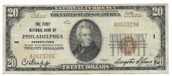 Us Coins - Pennsylvania, Philadelphia, Ch. 1, The First National Bank of Philadelphia, Pennsylvania, Series of 1929 Type 1 $20