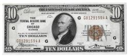 Us Coins - UNITED STATES - Fr. 1860G, Ten Dollar Federal Reserve Bank Note, Series of 1929, W-1731-G, Chicago