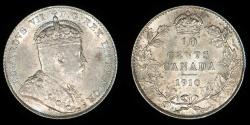 World Coins - CANADA – 1910 10 Cents, Edward VII
