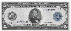 Us Coins - UNITED STATES - Fr. 856, Five Dollar Federal Reserve Note, Series of 1914, W-852-D-b, Cleveland