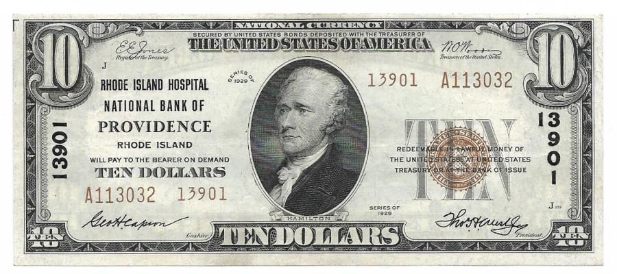 US Coins - Rhode Island, Providence, Ch. 13901, The Rhode Island Hospital National Bank of Providence, Rhode Island, Series of 1929 Type 2 $10