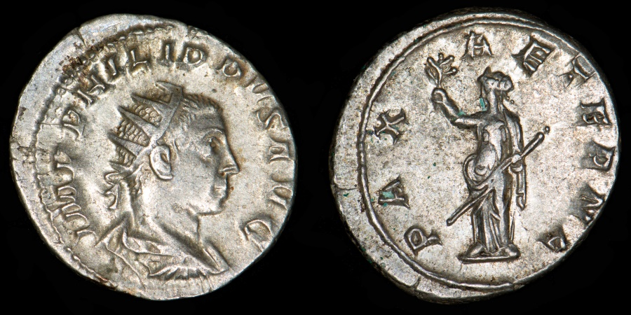 Ancient Coins - ROMAN EMPIRE – Philip II as Augustus Antoninianus, RIC (Philip I) 231c, 248 A.D. PAX AETERNA