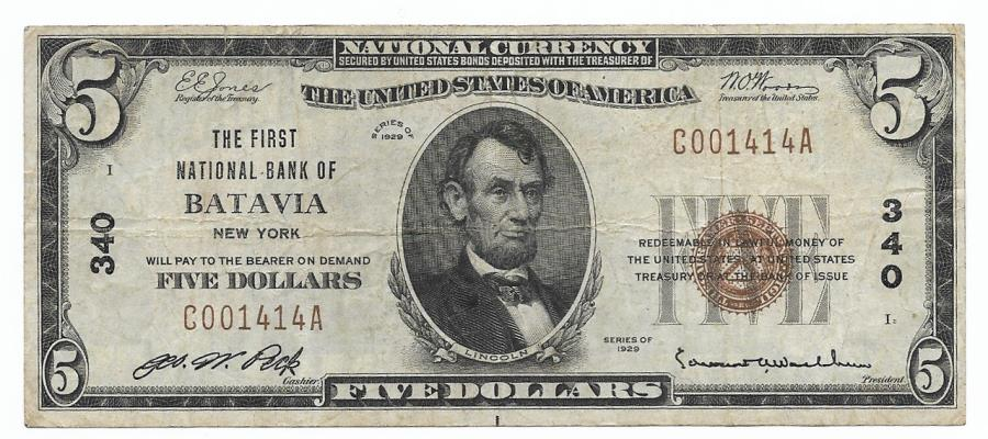 US Coins - New York, Batavia, Ch. 340, The First National Bank of Batavia, New York, Series of 1929 Type 1 $5