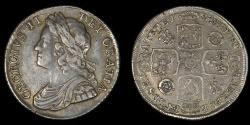 World Coins - GREAT BRITAIN – 1735 Shilling, George II, roses & plumes