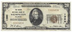 Us Coins - Delaware, Wilmington, Ch. 1390, The Union National Bank of Wilmington, Delaware, Series of 1929 Type 1 $20