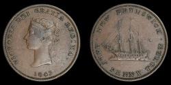 World Coins - CANADA – NOVA SCOTIA – 1843 Half Penny Token, Victoria, Courteau 8