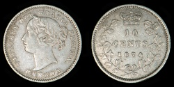 World Coins - CANADA – 1874-H 10 Cents, Victoria