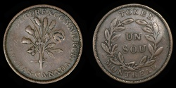 "World Coins - CANADA – LOWER CANADA – (ca. 1835-37) Bouquet ""Sou"" Token, Belleville issue, Br. 691"
