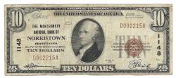 Us Coins - Pennsylvania, Norristown, Ch. 1148, The Montgomery National Bank, Norristown, Pennsylvania, Series of 1929 Type 1 $10