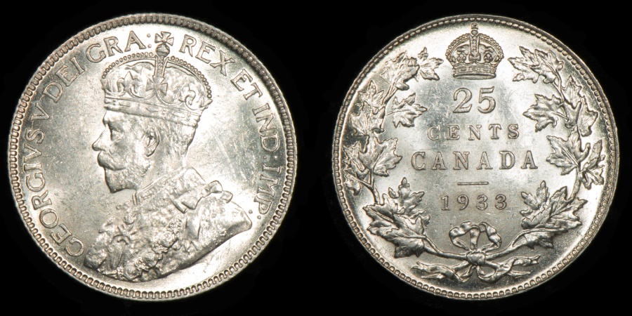 World Coins - CANADA – 1933 25 Cents, George V
