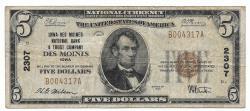 Us Coins - Iowa, Des Moines, Ch. 2307, Iowa - Des Moines National Bank & Trust Company, Des Moines, Iowa, Series of 1929 Type 1 $5