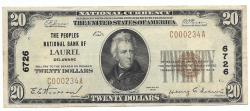 Us Coins - Delaware, Laurel, Ch. 6726, The Peoples National Bank of Laurel, Delaware, Series of 1929 Type 1 $20